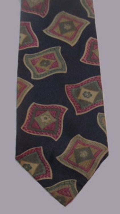 Ted Lapidus charcoal gray tie with scarf pattern