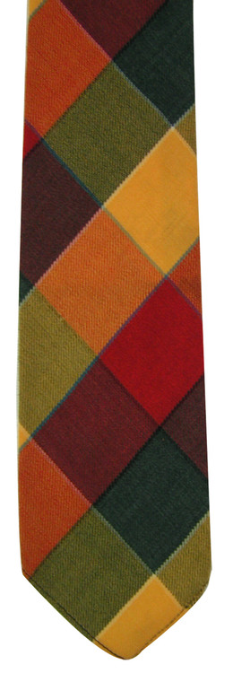 Vintage Orange & Green Plaid Wool Skinny Tie