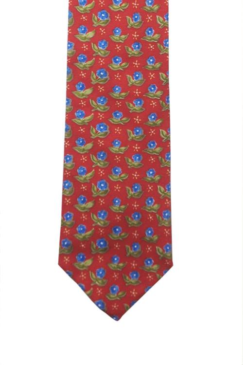 Ermenegildo Zegna Red Tie with Blue & Green Flowers