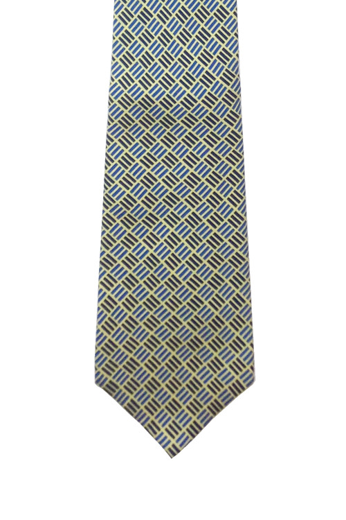 Turnbull & Asser Navy, Blue, Yellow and White Basket Weave Print Tie