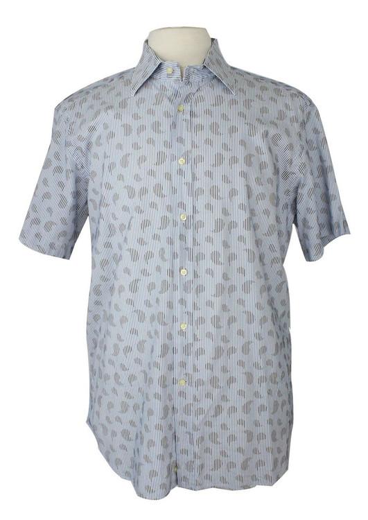 Etro Striped White & Blue Paisley Short Sleeve Shirt