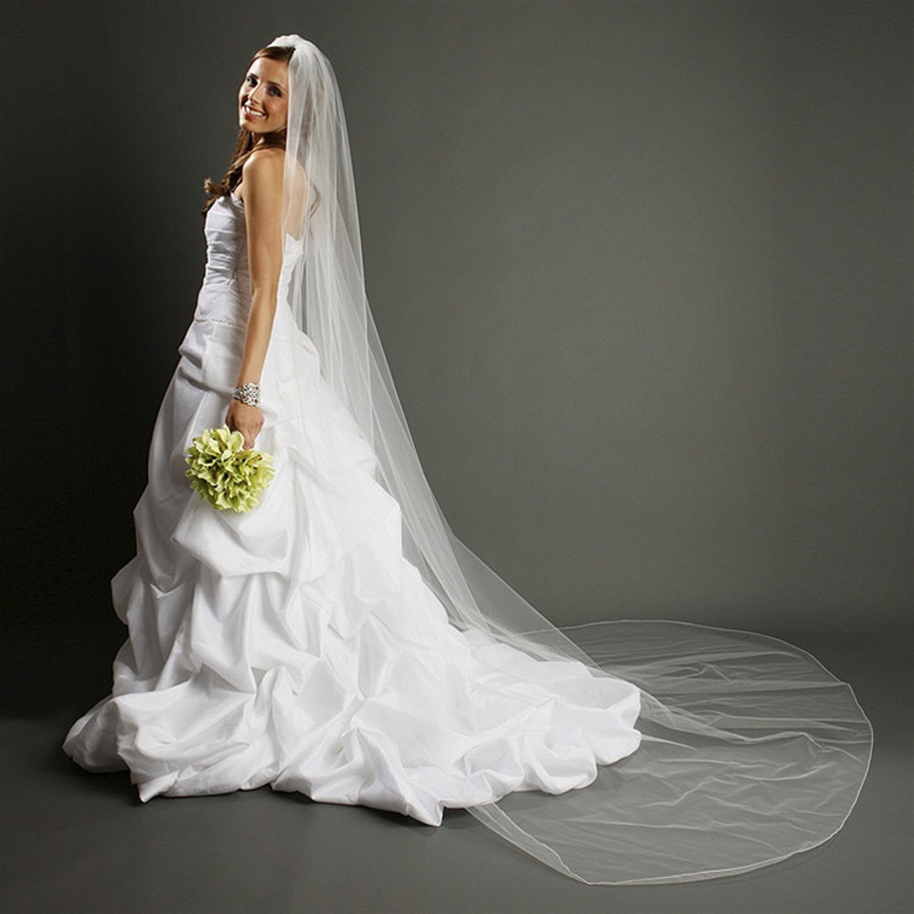 One Layer Dramatic Cathedral Length Wedding Veil with Pencil Edging