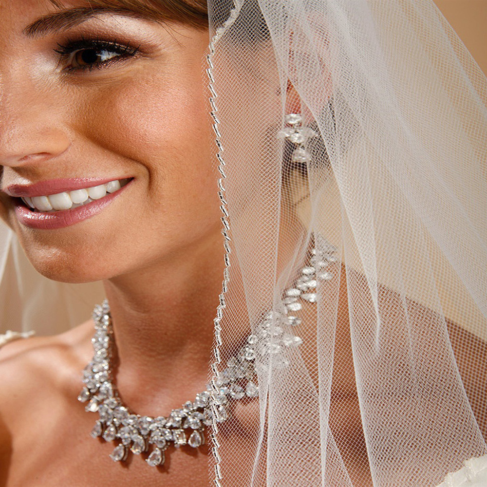 One Layer Bridal Veil with Zig Zag Bugle Bead Edging
