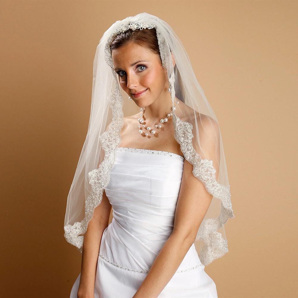 Mantilla Lace Wedding Veil Threaded with Silver Chain