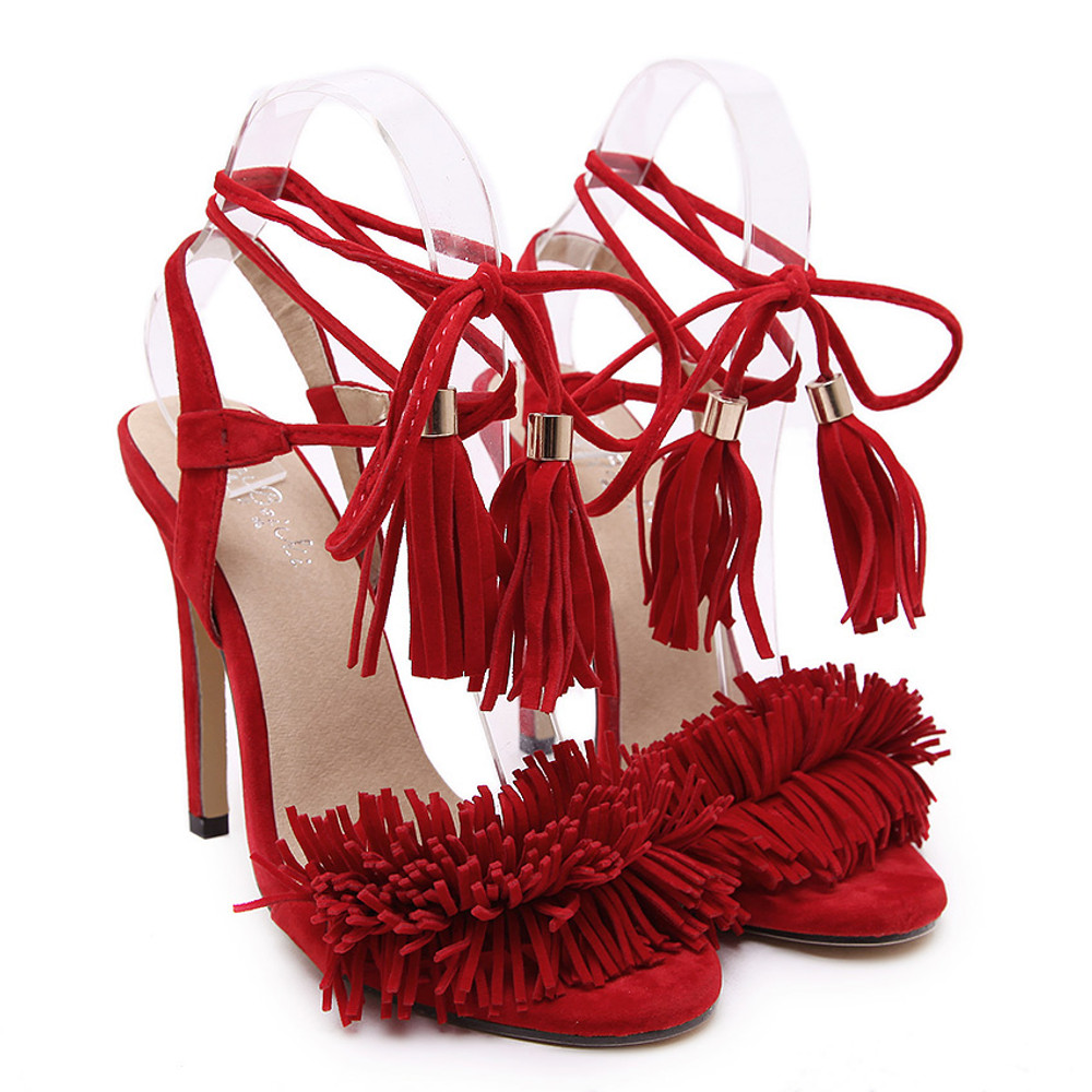 Gigi Lace Up Heels Red