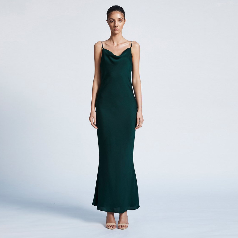 Shona Joy Bias Cowl Slip Dress - Emerald
