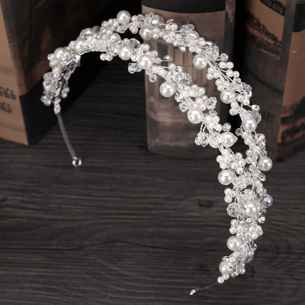 White Pearl Double Bridal Headpeice