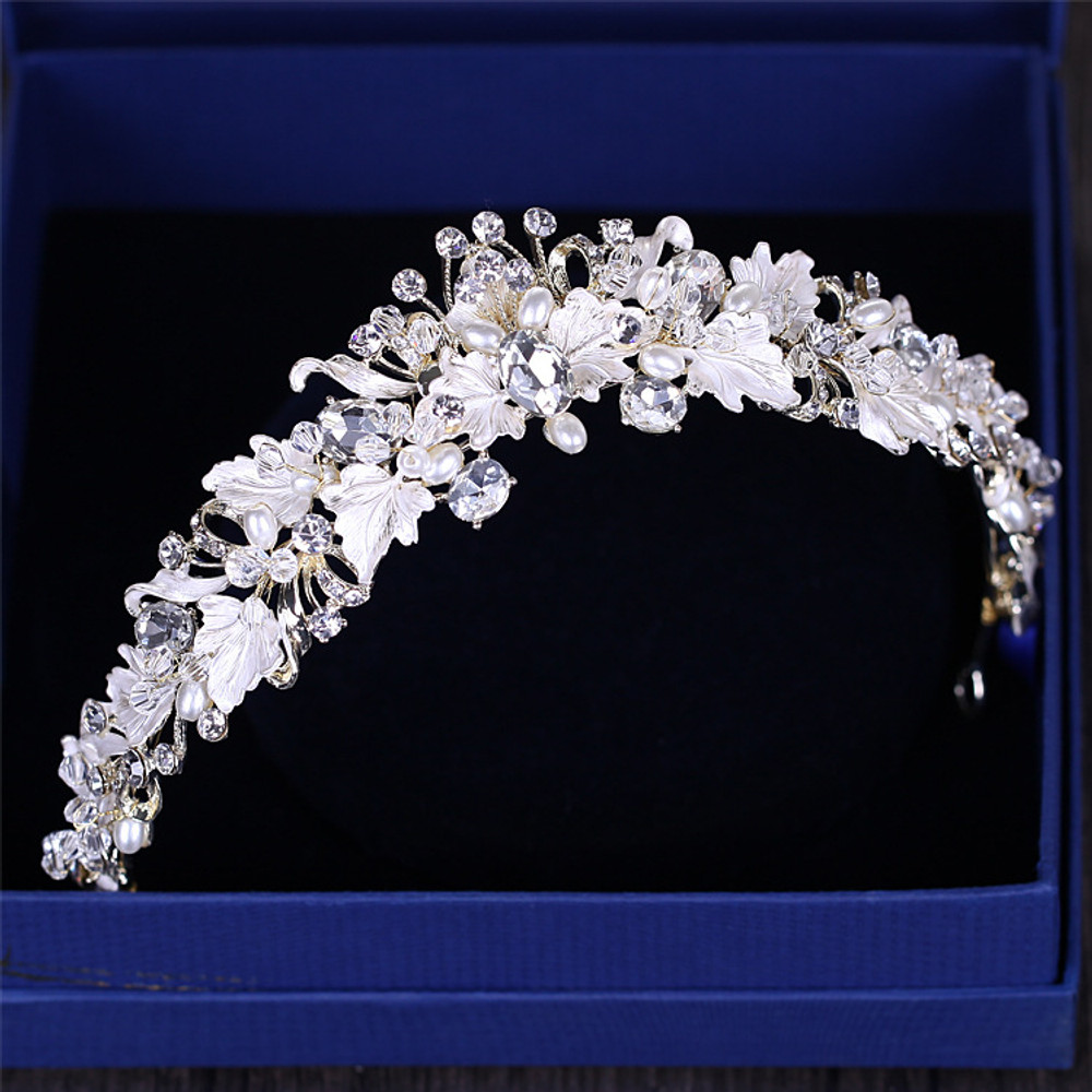 Flower Gold Silver and White Bridal Headpeice