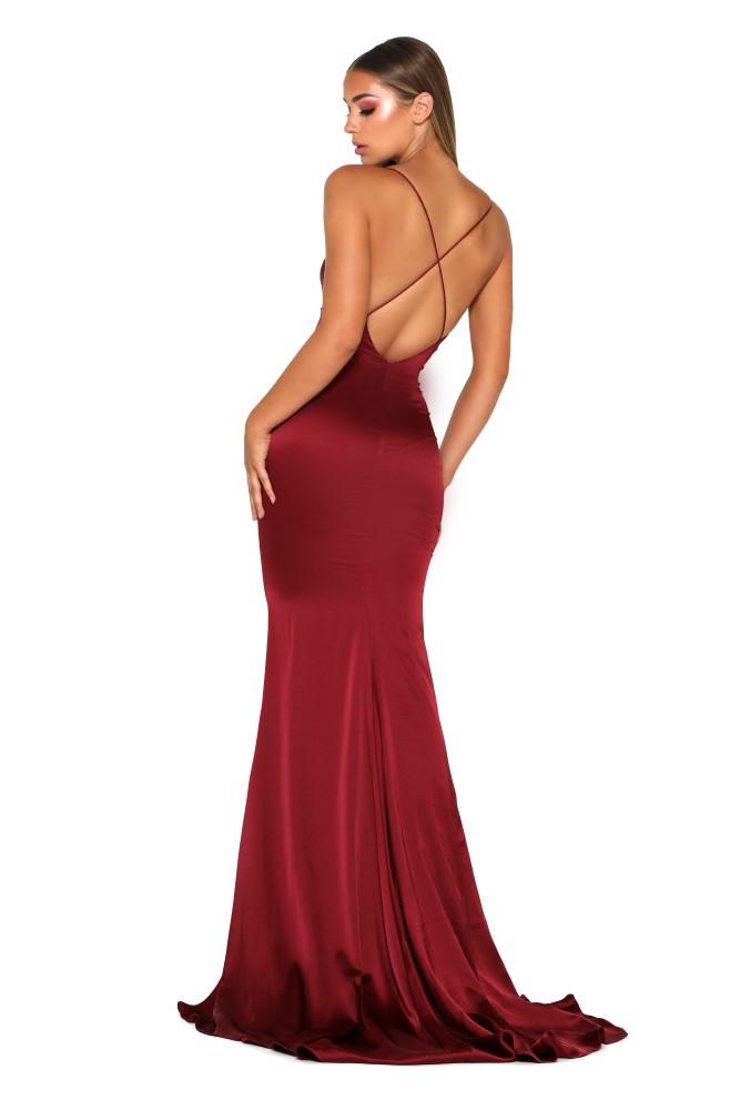 Dana Satin Dress Red by Portia & Scarlett