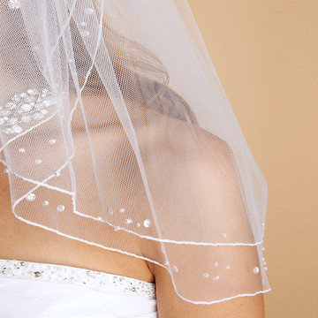 Scattered Pearl & Sequin 2-Layer Sheer Bridal or Flower Girl Veil