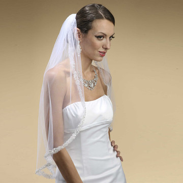 Rhinestone Edge Mantilla Wedding Veil with Floral Appliquè