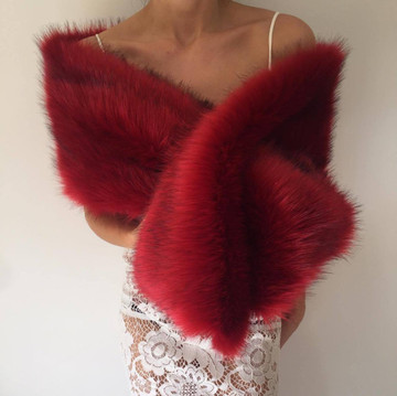 True Romance Fur Shawl Red