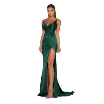 Hugo Gown Satin Emerald by Portia & Scarlett