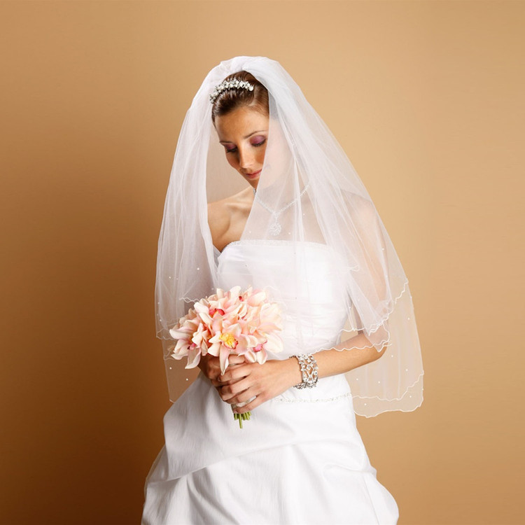 Scalloped Bridal Veil with Scattered Pearls & Swarovski Crystals
