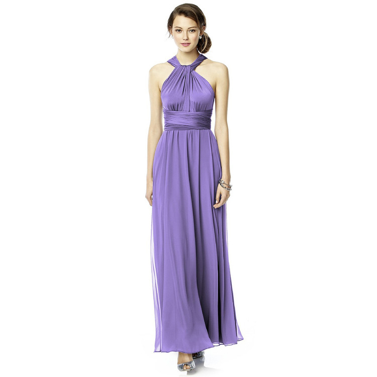 Twist Wrap Dress w/ Chiffon Overskirt Long By Dessy