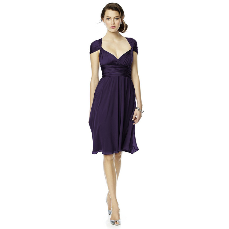 Twist Wrap Dress w/ Chiffon Overskirt Short By Dessy in 15 colours