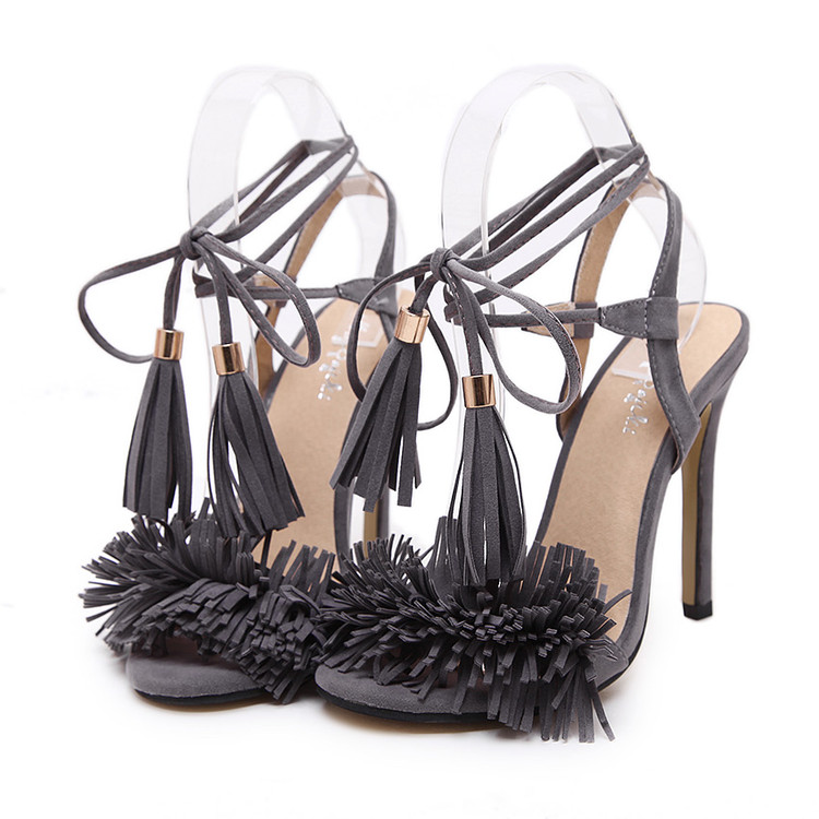 Gigi Lace Up Heels Grey