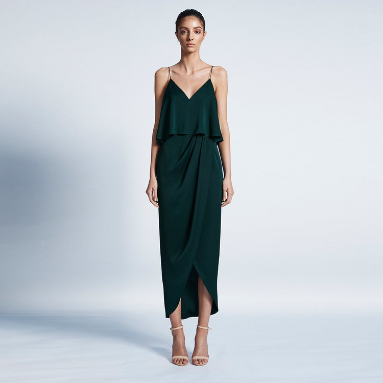 Shona Joy Luxe Cocktail Frill Dress - Emerald