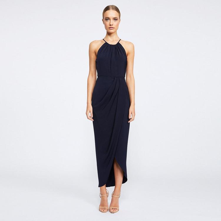 Shona Joy High Neck Ruched Dress - Navy