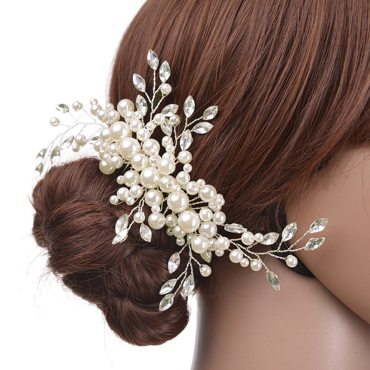 Bridal Floral Pearl Hairpin