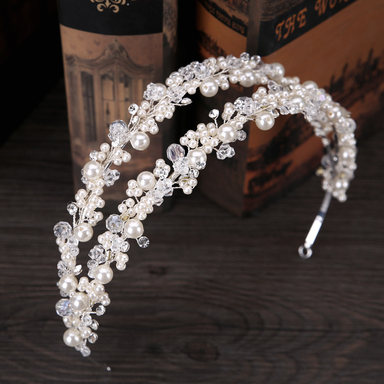 White Pearl Double Bridal Headpeice