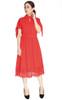 Crochet Hem Midi Dress - Vermillion