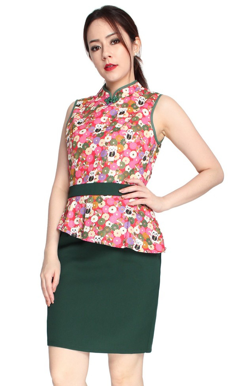 9df2f40ef77 Peplum cheongsam dress forest green singapore online shop jpg 610x976 Forest  peplum