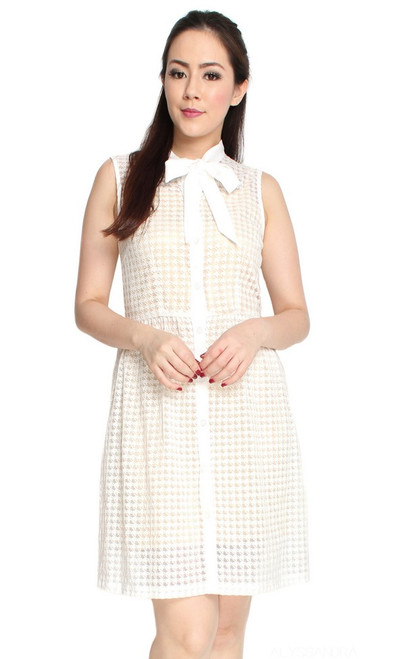 Necktie Dress - White