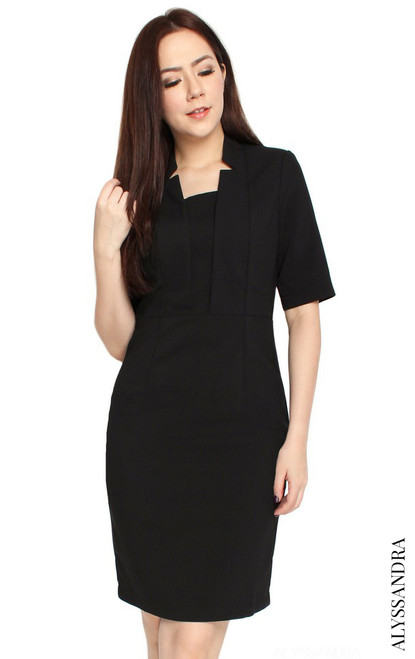 Notch Collar Pencil Dress - Black
