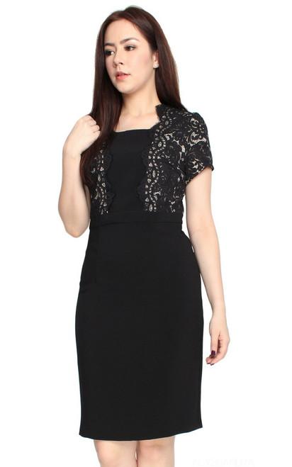 Scallop Lace Top Pencil Dress - Black