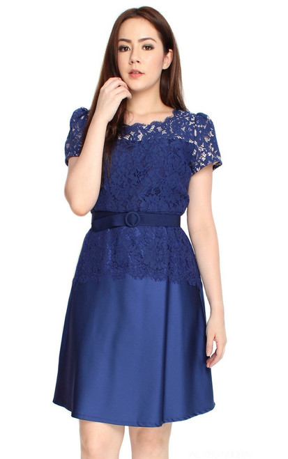 Lace Top Flare Satin Dress - Blue