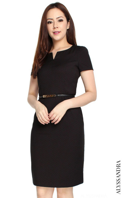 Notch Neck Pencil Dress - Dotted Black