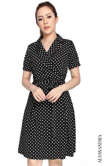 Wrap Front Dress - Polka Dots