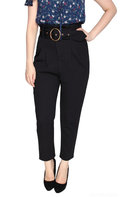 High Waist Peg Trousers - Black