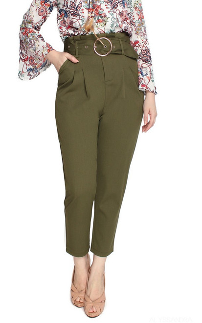 High Waist Peg Trousers - Olive