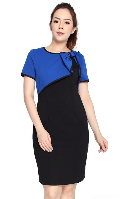 Bow Bolero Dress - Blue