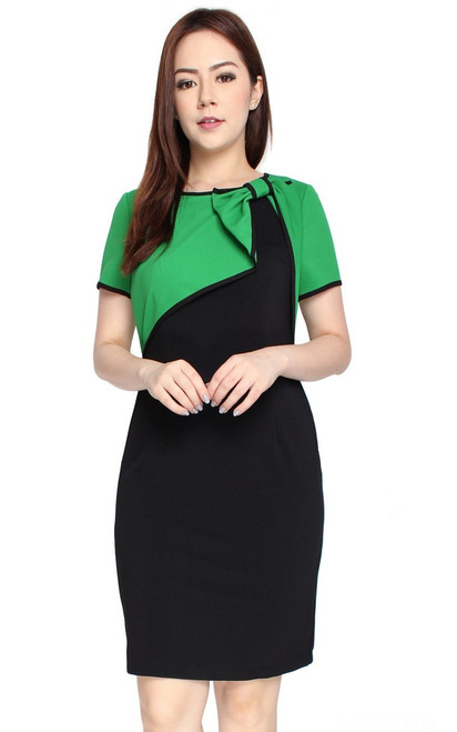 Bow Bolero Dress - Green