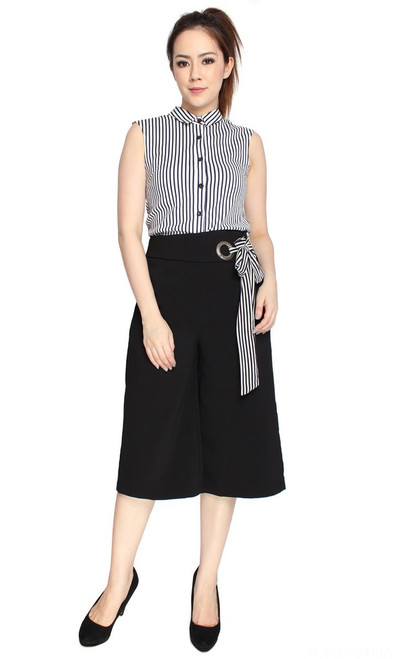 Side Tie Culottes - Black