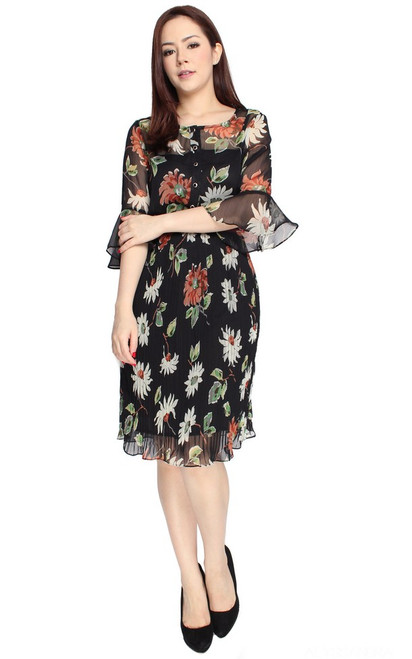 Floral Crepe Chiffon Dress