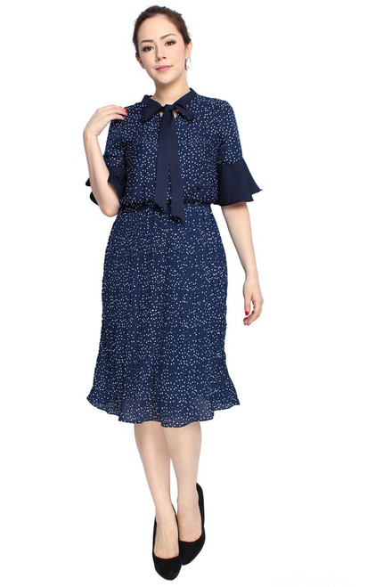Polka Dot Pleated Dress - Navy