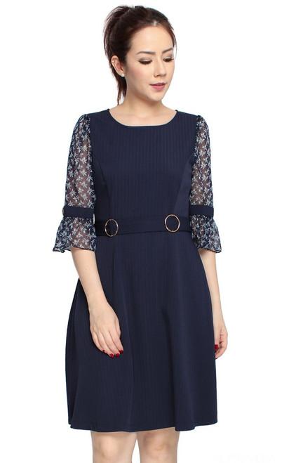 Floral Chiffon Sleeves Dress