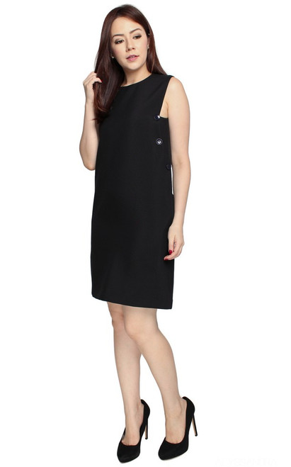 Side Buttons Shift Dress - Black