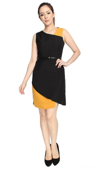 Colourblock Asymmetrical Pencil Dress