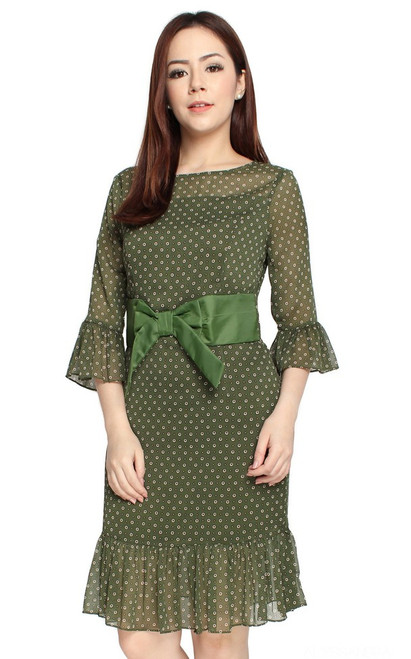 Chiffon Trumpet Sleeves Dress - Olive