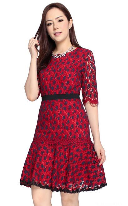 Floral Lace Dress - Crimson