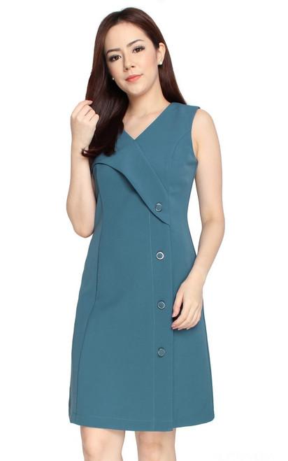 Side Buttons Dress - Ash Blue