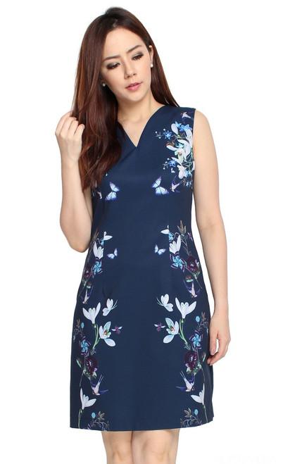 Floral Sides Dress - Navy