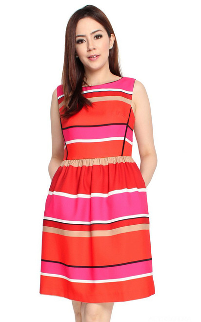 Colourblock Stripes Dress - Vermillion