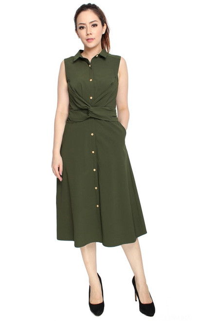 Knotted Waist Shirt Dress