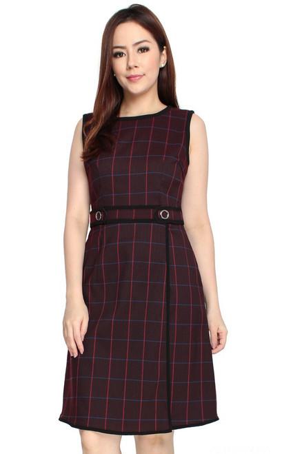Checkered Overlap Dress - Wine